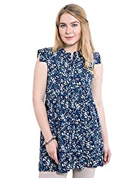 KASHANA Moss Crepe Blue Floral Printed Summer Tunic Dress for Women Girls Ladies