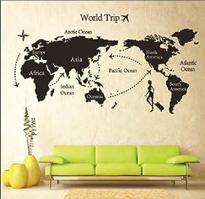 "YUPENGDA® 55""*31.5"" Map of World Trip Vinyl Mural Art Wall Sticker Decals Decor for Living Room/world Trip Wall Stickers/removable DIY World Trip Map Art Wall Decor Sticker Decal Mural (55""*31.5""(World Trip)) from YUPENGDA®"