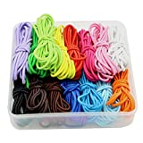 30yards Elastic String 2mm Thickness Rubber Rope Jewelry Cords (Color: Mixed 15 Colors Randomly, Tamaño: Width: About 2mm)