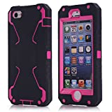 Vogue shop iPhone 5S Case, [Robot Series] iPhone 5S New Robot Case 3 in 1 3-piece Combo Hybrid Defender High Impact Body Armor Hard PC & silicone Case,Protective Cover for Apple iPhone 5S with Screen protector Aesthetic design (black/pink)