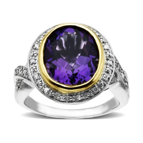 S&G Sterling Silver and 14k Yellow Gold Diamond and Amethyst Ring (1/10 cttw, I-J Color, I3 Clarity), Size 7