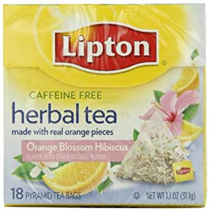 Lipton Herbal Pyramid Tea Bags, Orange Blossom Hibiscus, 18Count (Pack of 6)