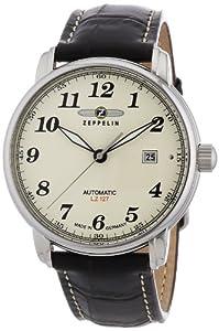Zeppelin 76565 - Reloj de caballero automático, correa de piel color marrón