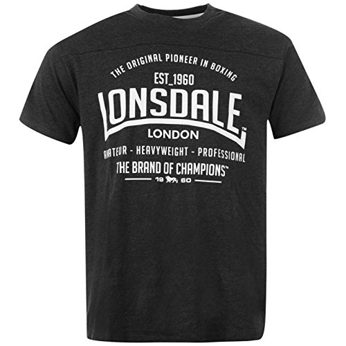 Lonsdale -  T-shirt - Collo a U  - Maniche corte  - Uomo grigio scuro XX-Large