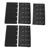 Black 5 Rows Hook and Eye Tape Extension Bra Strap Extender 5 Pcs for Women