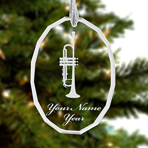 Personalized Glass Trumpet Christmas Ornament