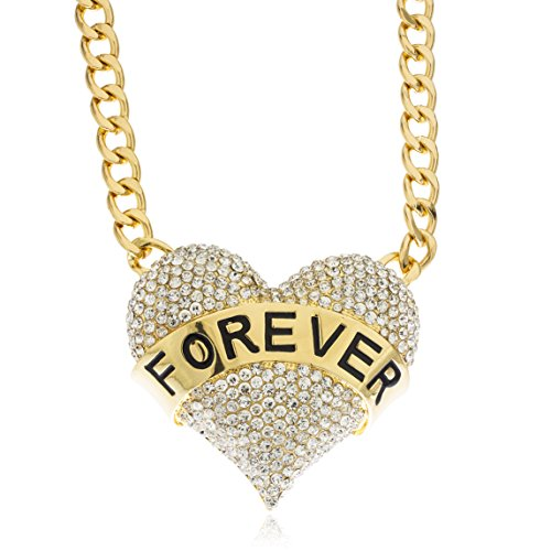 Ladies Goldtone With Clear Iced Out Large Forever Love Pendant With A 16 Inch Cuban Chain