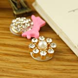 HuaYang DIY Fashion Rhinestone Diamond Home Button Key Sticker Paster For iPhone 4S 4 5 5G iPod iPad Mini 3(Pack of 1: 8 White Crystal)