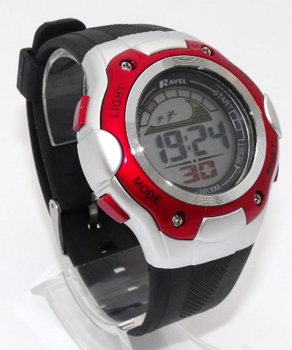 Mens Digital LCD Chronograph Sports Watch - Gift Boxed - Multi Functional- 15-22cm Strap - 3ATM (d)