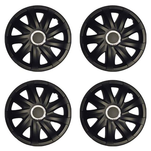 Radkappen DRF schwarz matt 15 Zoll passend für Fiat 500, Bravo, Brava, Doblo, Grande Punto, Evo, Idea, Linea