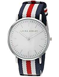 Laura Ashley Women's LA31016RD Laura Ashley Stainless Steel Watch With Striped Nylon Band