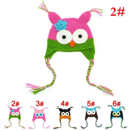 Owl Hand Crochet Knitting Wool Baby Hat Mb628A-2