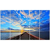 Wieco Art - Canvas Prints for Wall Decor, the Bridge under the Sunset Huge Canvas Wall Art - 5 Panels Seascape Modern Landscape Picture Prints on Canvas Art for Home Decoration, Stretched and Framed Canvas Print Artwork, P5RLA002
