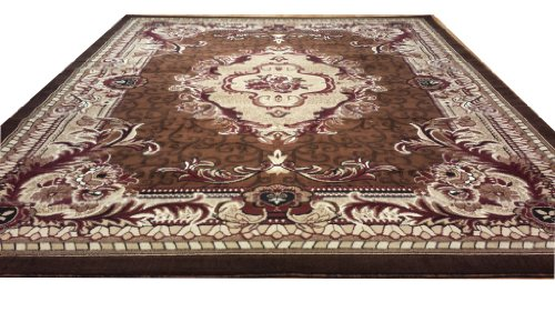 E521 French Aubusson Victorian Traditional Medallion Brown Hand Carved 5x8 Actual Size 5'3x7'2 P59.jpg
