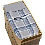 Baby Changing Pad Cover For Navy Blue And Gray Plaid Collection