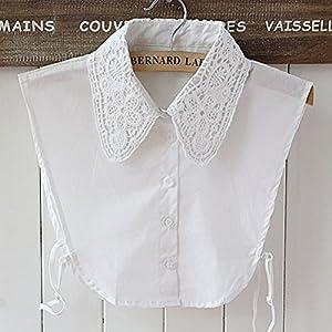 PIXNOR Frauen Floral Dekolleté abnehmbare Kragen halbe Shirt Bluse (weiß) from PIXNOR