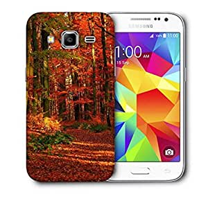 Snoogg Red Leaves Printed Protective Phone Back Case Cover For Samsung Galaxy CORE PRIME