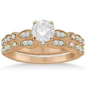 Marquise and Dot Pave-Set Aquamarine and Diamond Milgrain Bridal Set in 14k Rose Gold 0.49ct