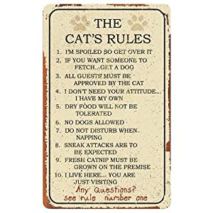 Cat Rules Tin Sign