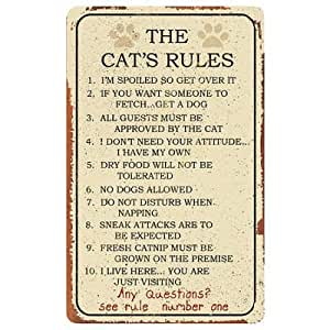 Cat Rules Tin Sign