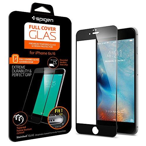 Spigen iPhone6s ガラス フィルム フルカバー グラス [ 全面液晶保護 9H硬度 發油加工 ] アイフォン 6s / 6 用 (ブラック SGP11589)