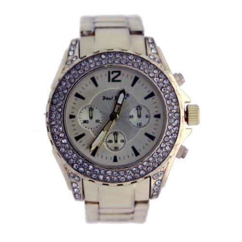 Amazon.com: Paul Jardin Rose Gold Facade Jeweled Fashion Watch 4329-RG