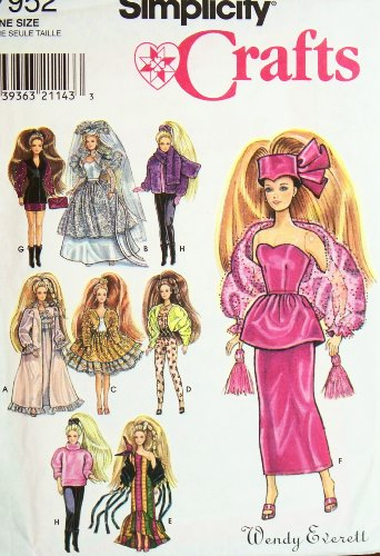 Simplicity Pattern 7952. 11.5 Fashion Doll, (Such as Barbie), Clothes. Nightgown; Robe; Wedding Gown; Skirt & Jacket; Jumpsuit; Dress; 2-piece Dress & Hat; Jacket, Gloves, & Purse; & Leotards, Top, Mittens, Jacket, Ponytail Holder, & Scarf