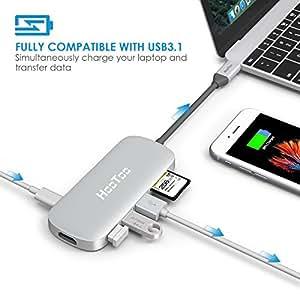 Hub USB Type-C HooToo Shuttle avec 3 Ports USB 3.1 Génération 1, Port HDMI, Lecteur de Cartes SD en Alliage d'Aluminium (Fourniture de Courant pour Charge par USB Type-C,Plug-and-play )