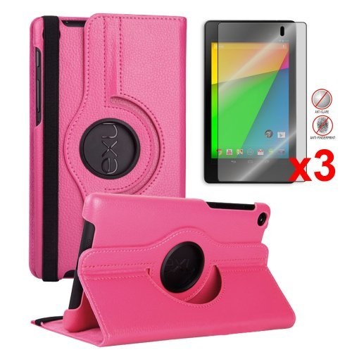 $$  FHD 360 Rotating PU Leather Case Pouch Cover Skin [Hot Pink] for Google Nexus 7 2nd Gen+3pcs Anti-Glare Matte Screen Protector - 2013 NEW