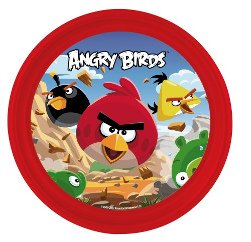 Angry Birds 737198+737112 - Set: Trinkbecher in Melamin, 7 x 7 x 11 cm und Plastikteller, 20 cm