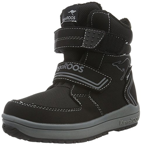 KangaROOSKanga-Tex 2083 - Stivaletti corti imbottiti Unisex - Bambini , Nero (Schwarz (black/dk grey 522)), 37 EU