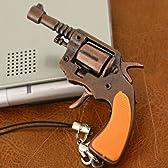 リアルな金属製ミニチュア拳銃ストラップ(Bタイプ/ナガン・リボルバー風)