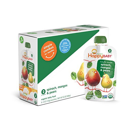 Happy Baby Organic Stage 2 Baby Food, Simple Combos, Spinach Mango & Pear, 4 Ounce, 8 count (Pack of 2)