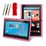 Chromo Inc.® 7 -Tablet PC and Candy Cane Stylus Gift Set with Gift Bag - Android 4.1.3 Capacitive 5 Point Multi-Touch Screen - Pink [New Model March 2015]