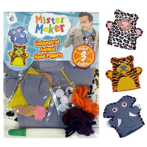 MISTER MAKER ENDANGERED ANIMAL HAND PUPPETS KIT CHILDREN CRAFT PLAY