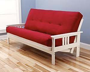 full monterey antique white futon frame suede red futon