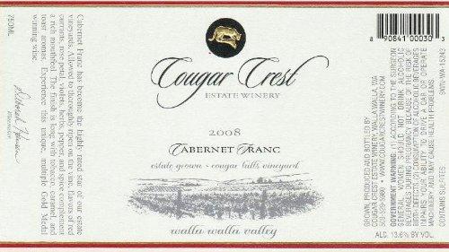 2008 Cougar Crest Cabernet Franc Walla Walla Valley Cougar Hills Vineyard Estate 750 Ml