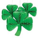Paper St Patrick s Day Green Irish Three Leaf Clover Tissue Lanterns Party Decoration - Set of 3
