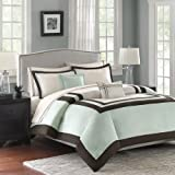 Madison Park Hotel 200TC 5 Piece Cotton Duvet Cover Set - Green - Full/Queen