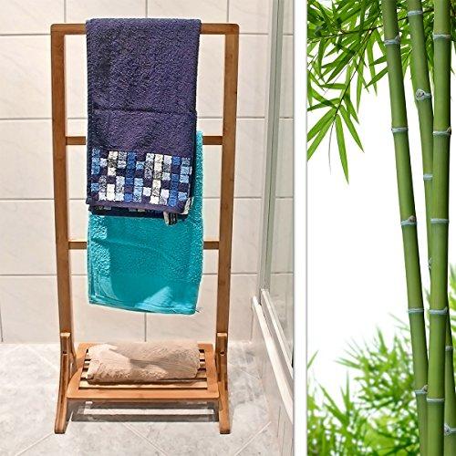relaxdays handtuchhalter bambus mit 3 handtuchstangen. Black Bedroom Furniture Sets. Home Design Ideas