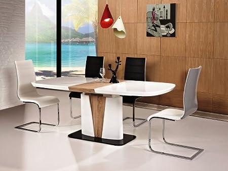 cangas Colonne Table Salle à Manger 90x 160x 75cm extensible jusqu'à 200cm [sciage Chêne Sonoma en bois blanc brillant]