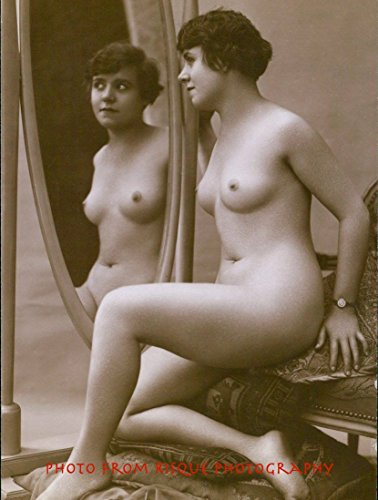 """Nude Woman with Bent Knee In Front of Oval Mirror 8.5x11"""" Photo Print Erotic Naked Female"""