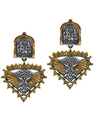 Traditional Lord Shiva Inspired Oxidised Gold And Silver Tone Stylish Jhumka Earrings For Women/girls