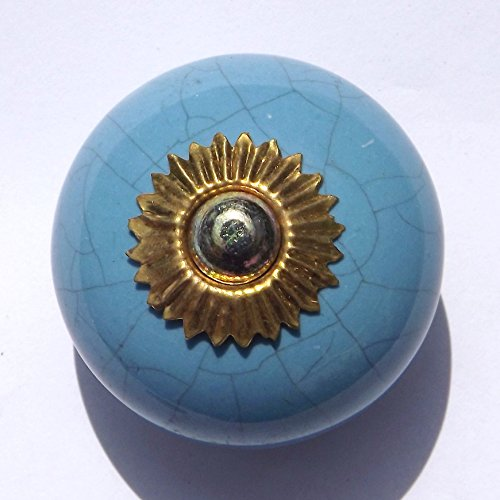 Blue round crackle glaze (brass fittings) ceramic cupboard door knobs drawer pulls shabby chic handle porcelain