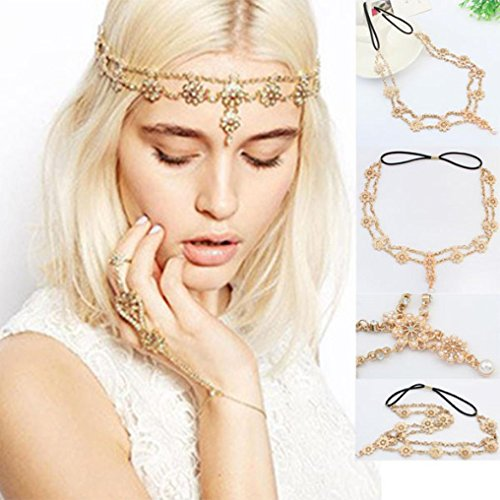 Baishitop Tassel Flower Stretch Headband, Crystal Golden Hair Chain (Arabian Head Bands compare prices)
