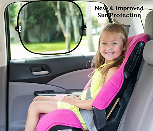Best 2 Pack Auto Sunshades. SPF Sun Protection for Babies-Kids-Pets. Quality Car Sun Screens. Blocks Heat, Sunglare. Side Windows. Baby Shower Gift. Bonus! Extra Suction Cups & Storage Bag