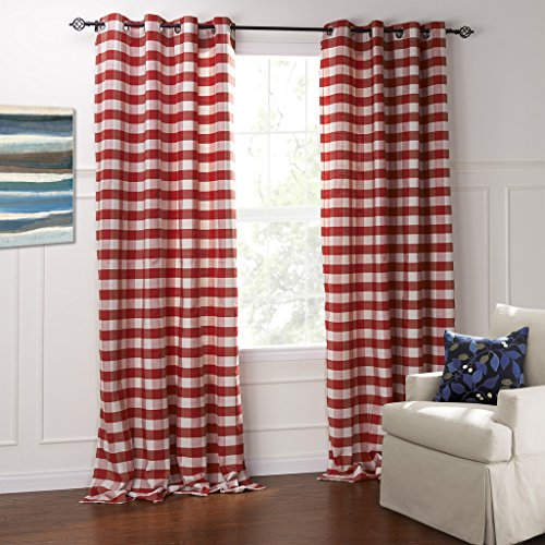 IYUEGO Modern Classic Red And White Plaid Jacquard Eco-friendly Grommet Top Lining Blackout Curtains Draperies With Multi Size Custom 42