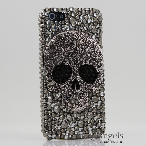 Special Sale 3D Swarovski Crystal Bling Case Cover for iphone 5 5G AT&T Verizo & Sprint Skull Design (Handcrafted by BlingAngels)