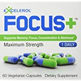 FOCUS+ by Excelerol - Supports Memory, Focus, Concentration & Alertness - Maximum Strength - ONE DAILY - 60 DAY SUPPLY