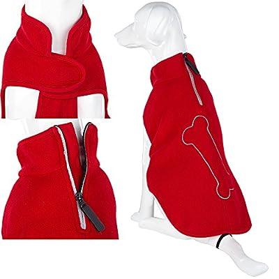 Pet Dog Puppy Warm Jumper Sweater Fleece Clothing - Bone - Red - 40cm